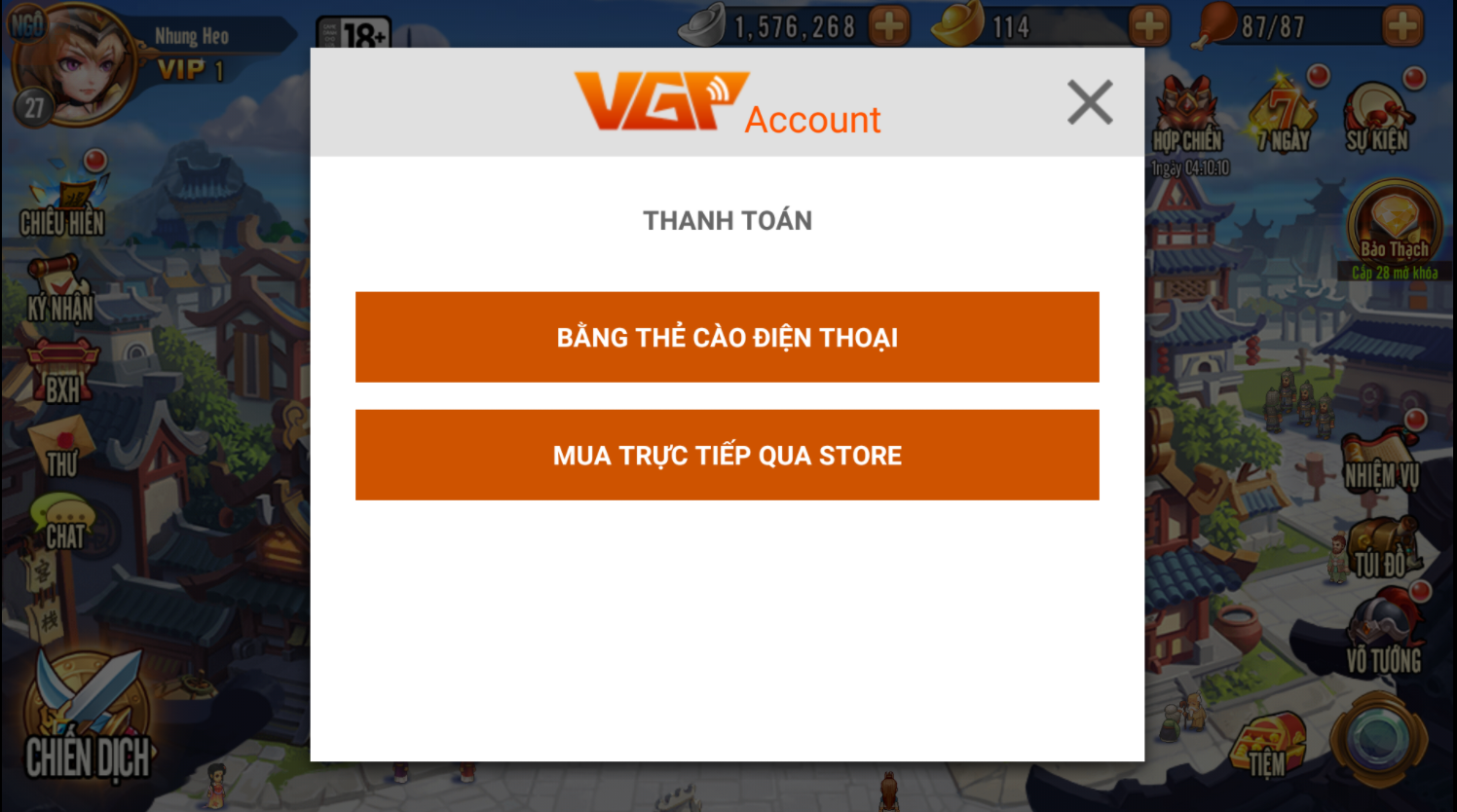 Bước 2: Chọn hình thức thanh toán bằng thẻ cảo